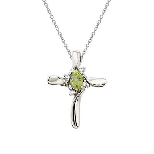 Jewels By Lux 10k White Gold Genuine Birthstone Peridot and Diamond Cross Pendant (1/5 ()