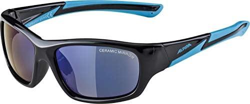 ALPINA Homme, Femme Lunettes de Sport Black-Cyan-Blue Mirror Black-Cyan-Blue Mirror