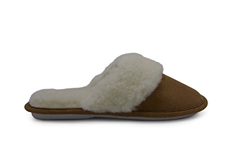 Aussie Merino Fur Lined Wool Slipper Cozy Indoor Warm House Slipper W/Indoor Outdoor Sole-Victoria ()