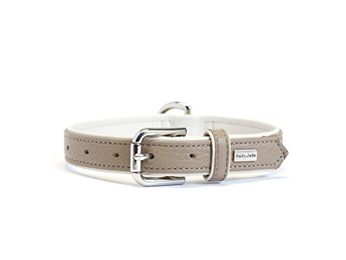 HelloJello Genuine Leather Pet Collar - Colorful Stylish Genuine Leather Padded Dog Collar (L, Grey & White)