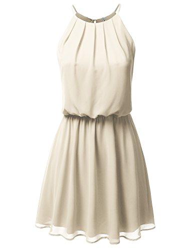 JJ Perfection Women's Sleeveless Double-Layered Pleated Mini Chiffon Dress Taupe 2XL -