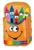 Betallic Foil Balloon 015450 Crayon Smiley Box, 28