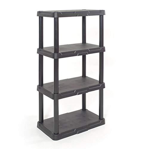 Pro-G Storage Organizing Shelf Durable Indoor Garage 4 Tier Solid Plastic Easy Clean Care ()