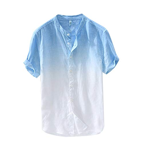 Homeparty T-Shirt Summer Mens Cool and Thin Breathable Collar Hanging Dyed Gradient Cotton -