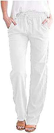 iOPQO Women's Linen Cropped Pants Women Summer Elastic Waist Soft Cotton Pant Tapered Trousers with Poc