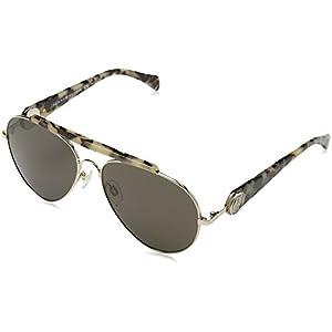 Tommy Hilfiger Gigi Aviator Sunglasses, Gold Havana/Brown Gray, 58 mm