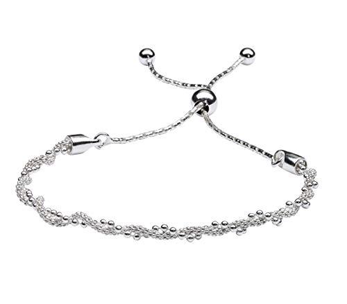 - Bolo Bracelet for Women in .925 Sterling Silver with Elegant Twist Design Adjustable 6