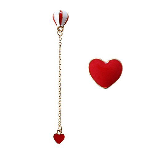 18K Gold Plated asymmetric Red heart hot air balloon Women Long Tassel dangle Stud Earrings
