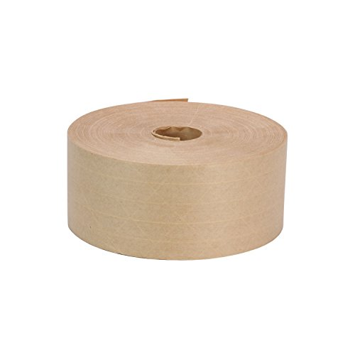 Rok Hardware 3'' x 450' Heavy Duty Fiber Reinforced Gummed Paper Water Activated Sealing Carton Box Brown Kraft Packaging Machine Shipping Tape by Rok