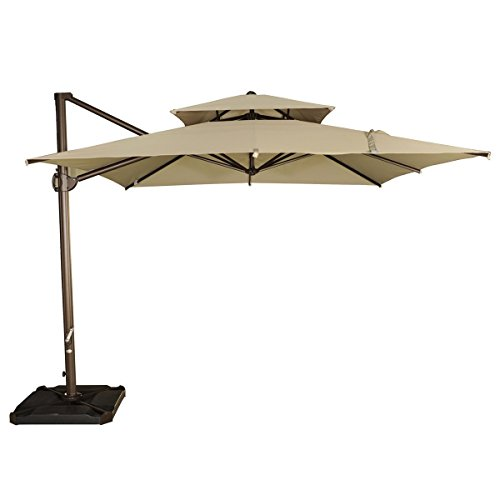 Abba Patio 9 by 9-Feet Square Offset Cantilever Umbrella Patio Hanging Umbrella with Dual Wind Vent, Cross Base and Umbrella Cover, Beige