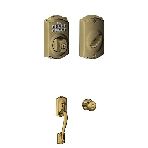 BE365 CAM 609 Camelot Keypad Deadbolt Handleset, Antique Brass