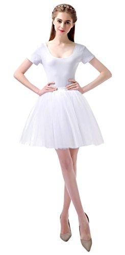 Feoya Tutu en Tulle Femme Ballet Jupe Courte Jupon Tutu Skirt Danse Spectacle Taille unique lastique 60-95 CM Blanc
