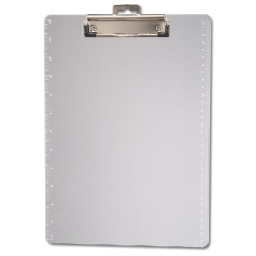 Officemate Transparent Plastic Clipboard with 12-Inch Ruler, Letter Size, Low Profile, Clear - Clipboard Office Clear