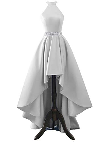 Changuan Halter High Low Evening Party Dress Satin Homecoming Prom Dresses Sleeveless Silver-18 ()
