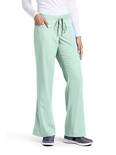 Polyester Waistband Elastic Drawstring (Grey's Anatomy Women's 4232 5 Pocket Drawstring Scrub Pant with Elastic Back- Aqua Mist- Medium Petite)