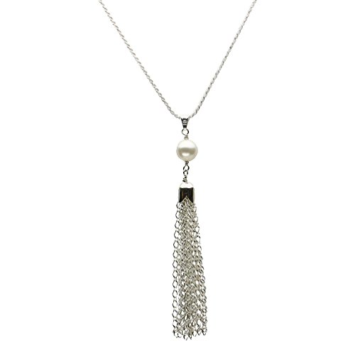 Figaro Tassel Pendant Sterling Silver Diamond-Cut 1.5mm Rope Chain Y Necklace Italy 30
