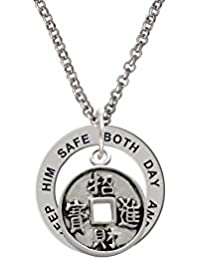 Chinese Coin - Keep Him Safe Affirmation Ring Necklace