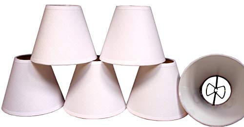 Creative Hobbies White Linen Fabric Candle Lamp & Chandelier Shades 4-Inch High x 5-Inch Diameter -Clip on Teardrop Bulbs (Pack of 6) ()
