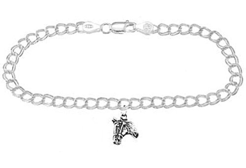Sterling Silver Horse Head on 4 Millimeter Charm Bracelet (Sterling Bracelet Horse Head Silver)