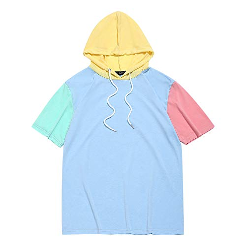 ZAFUL Men's Casual Short Sleeves Color Block Panel Splicing Hooded T-Shirt (Day Sky Blue, M)