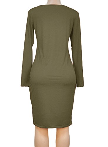 Romastory Women's Winter Plus Size Strapless Long-Sleeved Bodycon Stretch Club Dresses (XXL, Army Green)