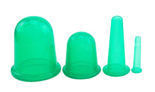 Chiyoda Health Care Body Anti Cellulite Silicone Vacuum Massage Cupping Cup Pack of 4(Green) (Facial Vacuum Cupping compare prices)