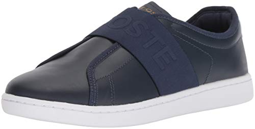 (Lacoste Women's Carnaby EVO Slip Sneaker, Navy White Leather, 8 Medium)