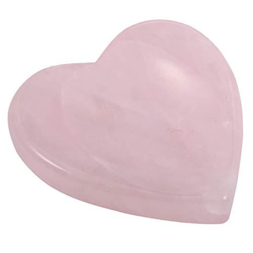 SUNYIK Handcarved Thumb Worry Stone, Polished Palm Pocket Stones Healing Crystals, Heart Shaped, Rose Quartz