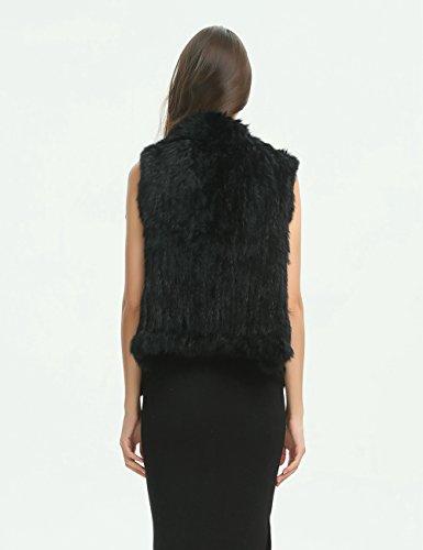 Ferand Giacca in Design Nero di Con Donna a Inverno Vera Gilet Elegante Per Pelliccia Senza Cascata Coniglio Maniche rrHwSqC5