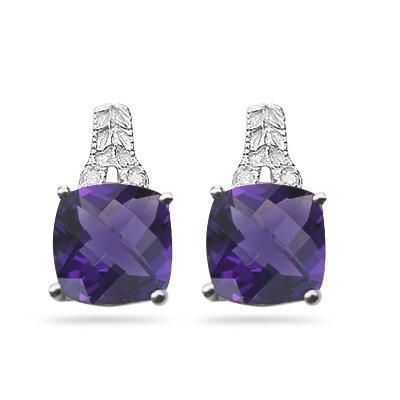 0.03 Ct Diamond & 4.03-4.09 Ct Amethyst Antique Filigree Earrings-14KW Gold