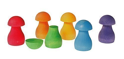 Rainbow Mushrooms for Sorting, Stacking, Building & Playing Games by Grimm's Spiel and Holz Design