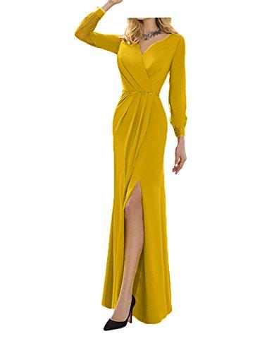 Ballkleider Damen Lang Charmant Orange Etuikleider Abendkleider Gelb Brautmutterkleider Chiffon Langarm aCTqwU