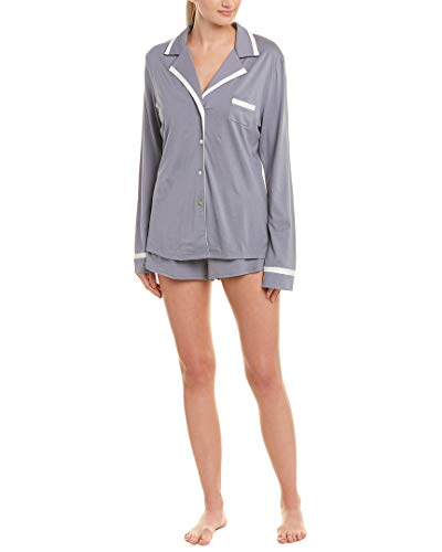 Cosabella Women's Bella Long Sleeve Top & Boxer Pajama Set, Incenso/Moon Ivory Small