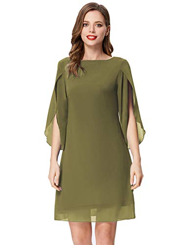 GRACE KARIN Summer Chiffon Cocktail Dresses Flare Swing Formal Party Midi Dress Army Green M