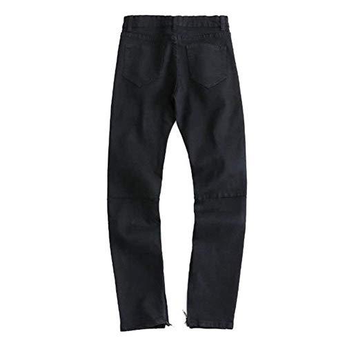 Torn Slim Uomo Jeans Retro Distrutto Pantaloni Neri Stretch Fit Casual Nero Denim zxgRqg0