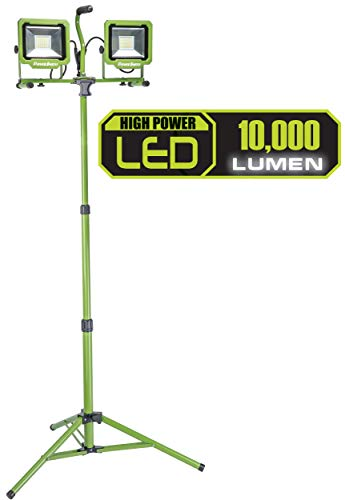 PowerSmith PWL2100TS 10,000 Lumen LED Dual Head Work Light with Adjustable Metal Telescoping Stand, Green