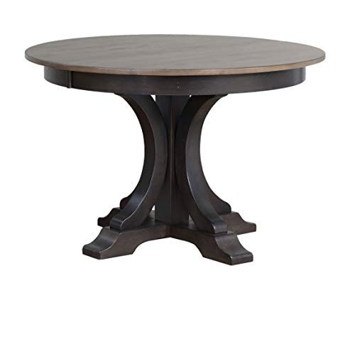 """Iconic Furniture Company Round Table, 45""""W x 45""""-63""""L x 30""""H, Antiqued Gray Stone/Black Stone"""