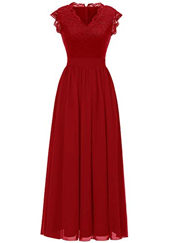 Dressystar 0050 V Neck Sleeveless Lace Bridesmaid Dress Wedding Party Gown XL Red (Red Dresses For Bridesmaid)