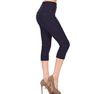 Leggings Depot Premium Quality Cotton Blend Stretch Jeggings with 2 Pockets at Women's Clothing store