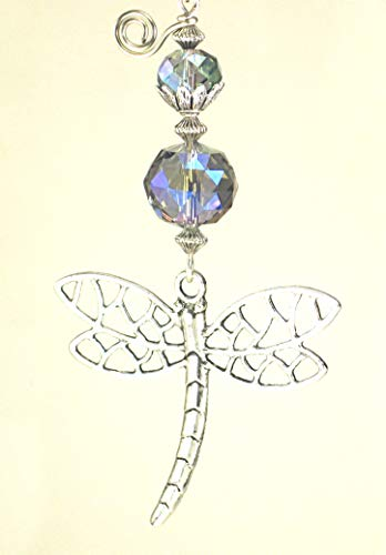 - Large Silvery Metal Dragonfly and Faceted Pale Purple-Blue Glass Ceiling Fan Pull/Light Pull