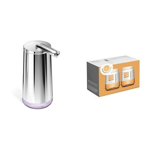 Mandarin Foam (simplehuman foam soap sensor pump variable dispense, high-grade polished stainless steel, plus 2 pack mandarin cartidge refills)