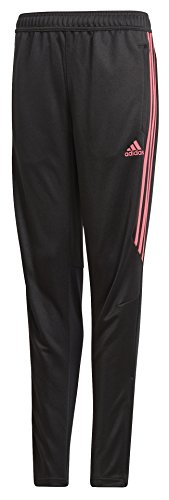 adidas Youth Soccer Tiro 17 Training Pants, Black/Real Pink, Small