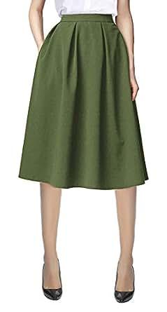 Urban CoCo Women's Flared A line Pocket Skirt High Waist Pleated Midi Skirt (S, Army Green)