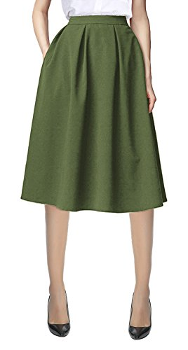 Women's Flared A line Pocket Skirt High Waist Pleated Midi Skirt (XL, Army Green)