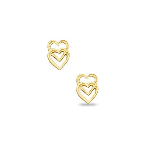 Two Heart Stud Earrings Solid 14k Yellow Gold Open Heart in Heart Studs Diamond Cut Style 9 x 6 - Diamond Open Flower Earrings
