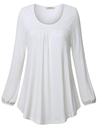 Front Sleeved Long (Timeson Long Sleeved Pleated Front Fitted Blouse, White Dress Shirt for Women Lace Evening Tunic Blouses for Work Loose Fit Casual Shirts for Leggings for Fall Wear White X-Large)