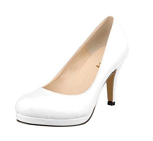 Confort Moyen Grande Femme 40 41 Blanc Cm Ol Vernis Wealsex Talon Taille 5 Escarpins Classique 42 qUEIUwv0