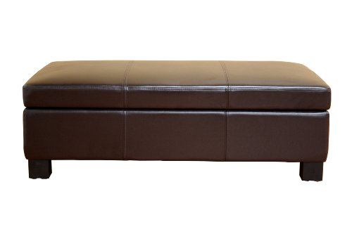Baxton Studios Dark Brown Esmeralda Leather Storage Ottoman