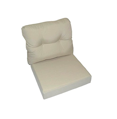 Sand / Beige / Tan / Khaki Outdoor Fabric Cushion for Patio Outdoor Deep Seating Furniture Chair - Choose Size (SEAT CUSHION - 24'' W x 27'' D / BACK CUSHION - 24'' W x 21'' D) by Resort Spa Home Decor