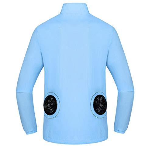 - iZZZHH Summer Heatstroke Countermeasures Miniature Fan Outdoor Long-Sleeve Working Clothes Top Shirt(Light Blue,S)